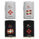 Briquet Atomic exclusive jetflamme rubber noir/argent décors Basque